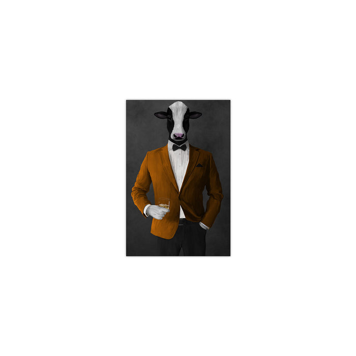 Cow Drinking Whiskey Wall Art - Orange and Black Suit