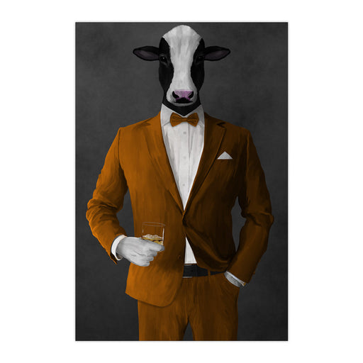 Cow Drinking Whiskey Wall Art - Orange Suit