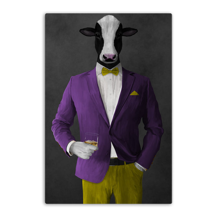 Cow Drinking Whiskey Wall Art - Purple and Yellow Suit