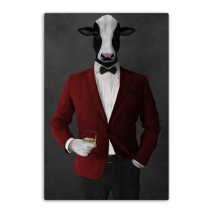 Cow Drinking Whiskey Wall Art - Red and Black Suit