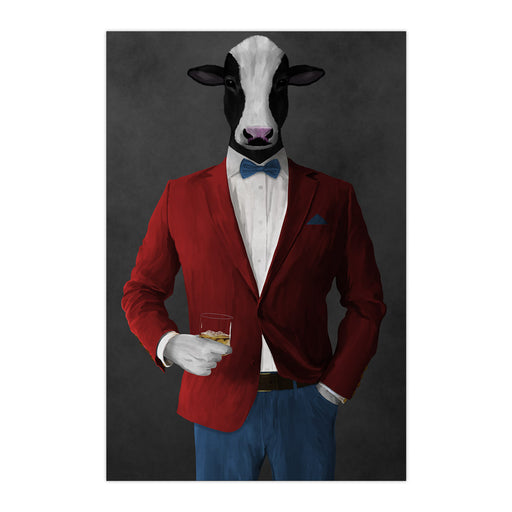 Cow Drinking Whiskey Wall Art - Red and Blue Suit