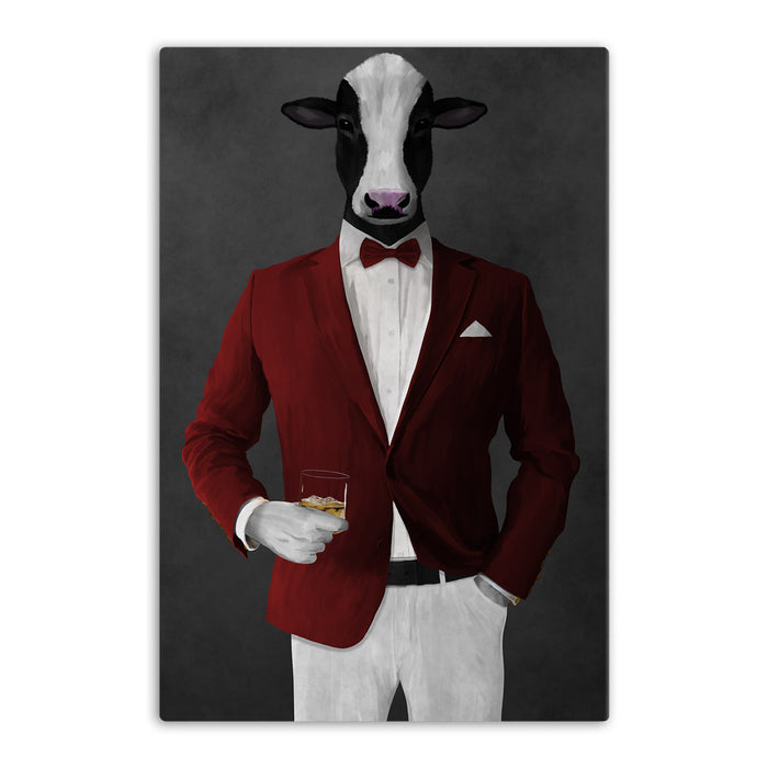 Cow Drinking Whiskey Wall Art - Red and White Suit