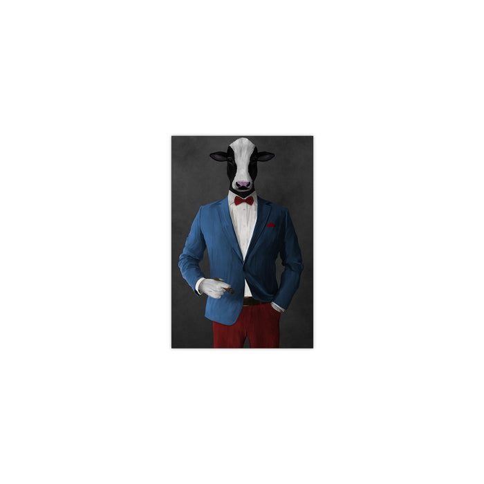 Cow Smoking Cigar Wall Art - Blue and Red Suit