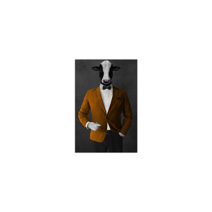 Cow Smoking Cigar Wall Art - Orange and Black Suit
