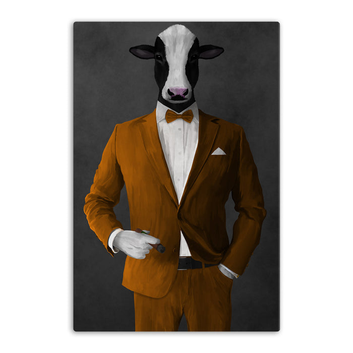 Cow Smoking Cigar Wall Art - Orange Suit