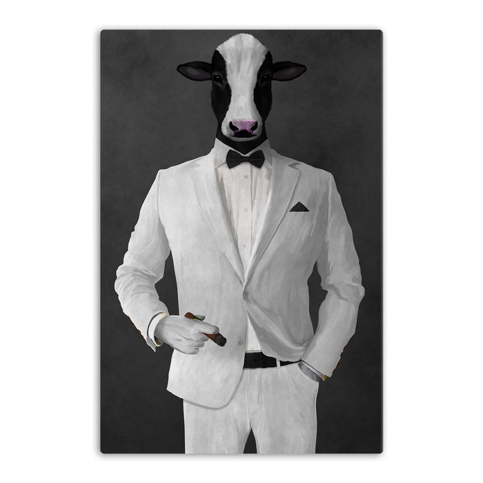 Cow Smoking Cigar Wall Art - White Suit