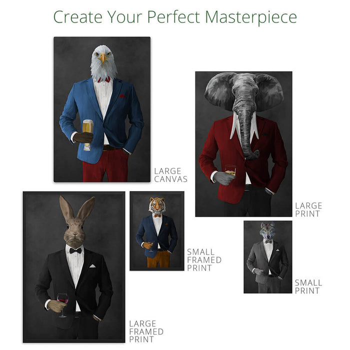 Rabbit Drinking Martini Wall Art - Gray Suit
