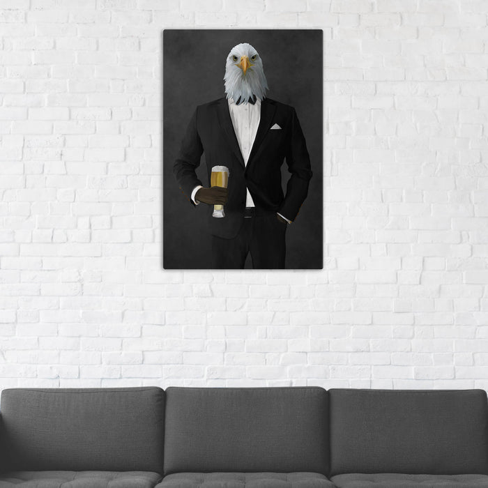 Bald eagle drinking beer wearing black suit wall art in man cave