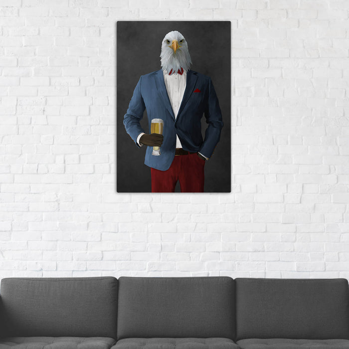 Bald eagle drinking beer wearing blue and red suit wall art in man cave