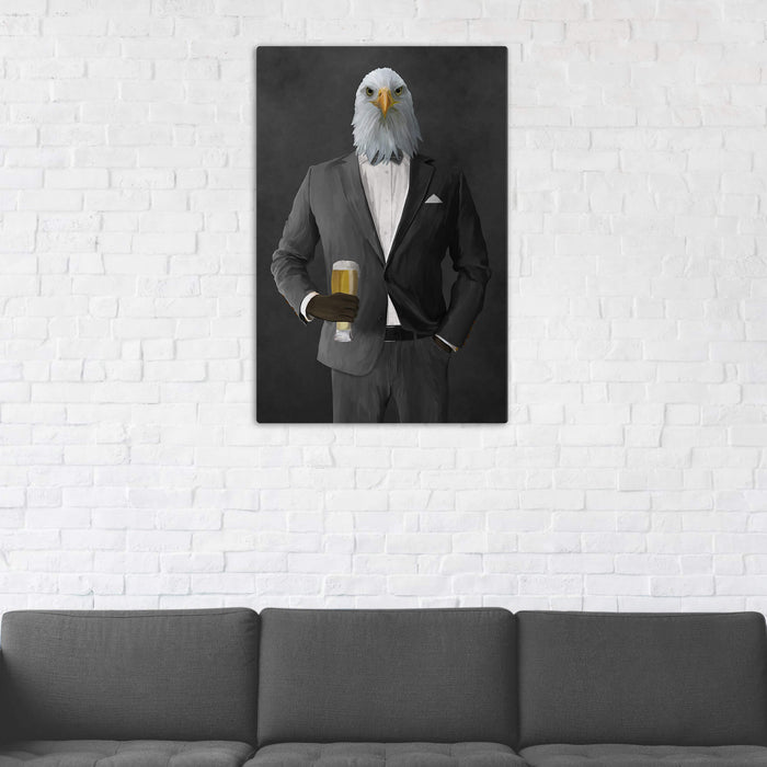 Bald eagle drinking beer wearing gray suit wall art in man cave