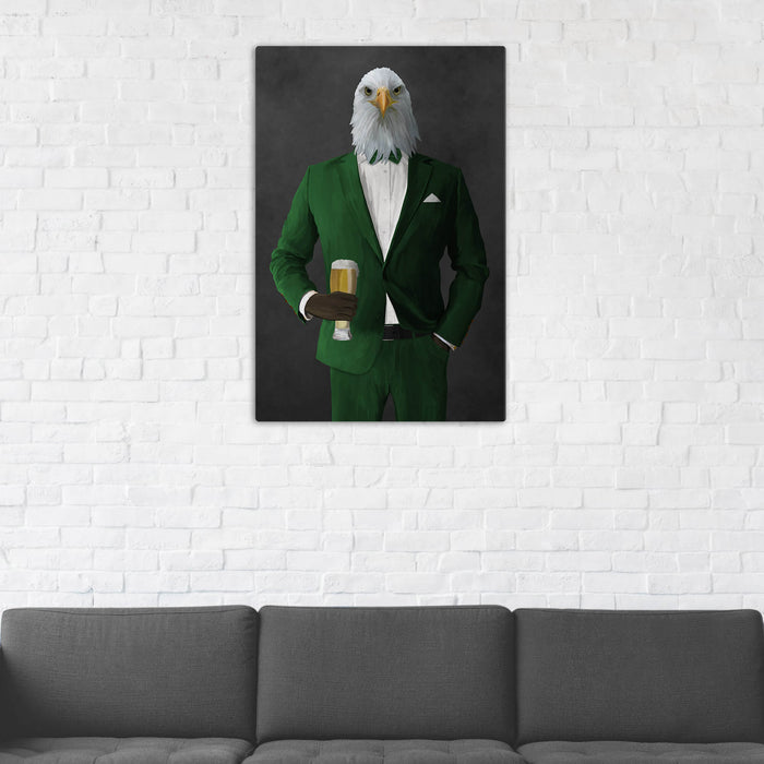 Bald eagle drinking beer wearing green suit wall art in man cave