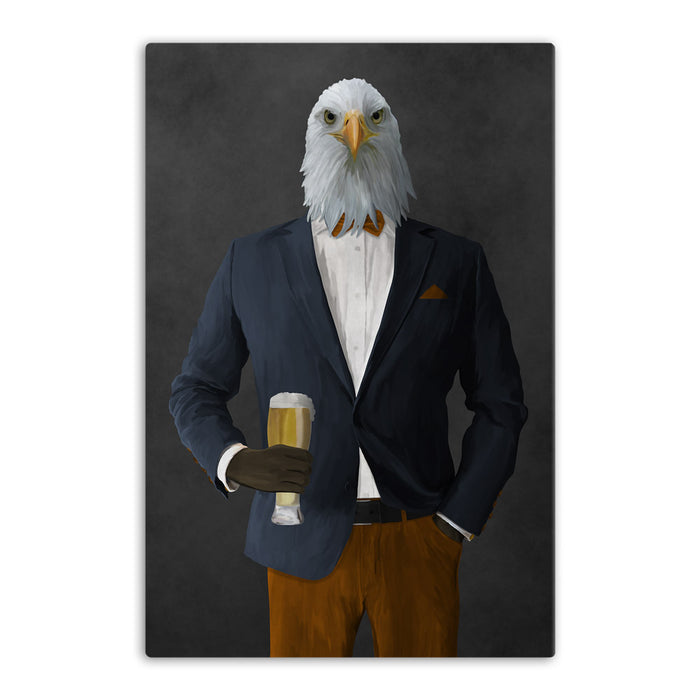 Bald eagle drinking beer wearing navy and orange suit canvas wall art