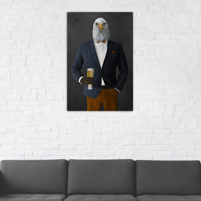 Bald eagle drinking beer wearing navy and orange suit wall art in man cave