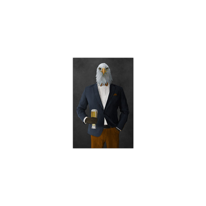 Bald eagle drinking beer wearing navy and orange suit small wall art print