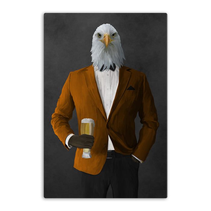 Bald eagle drinking beer wearing orange and black suit canvas wall art