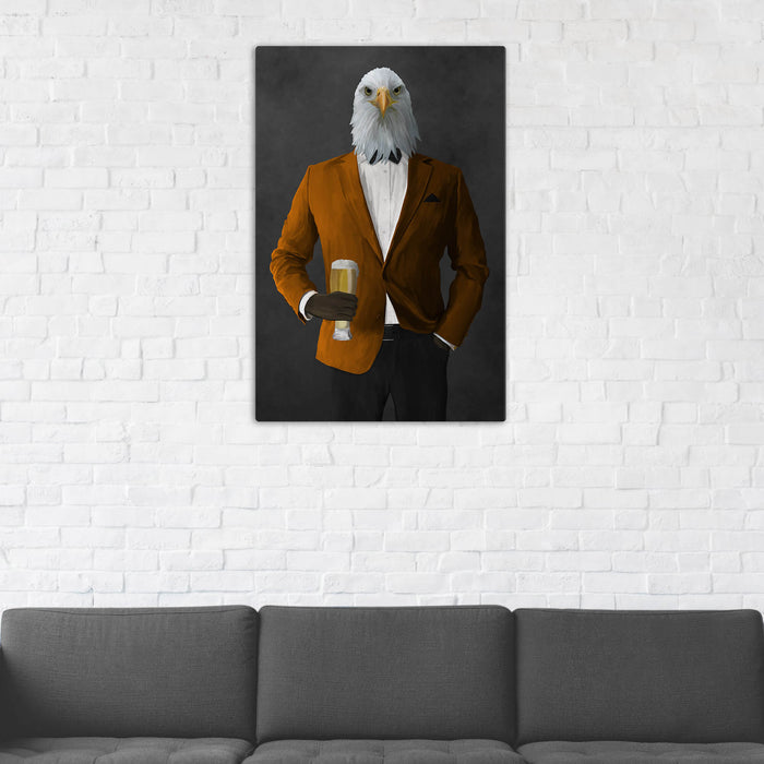 Bald eagle drinking beer wearing orange and black suit wall art in man cave