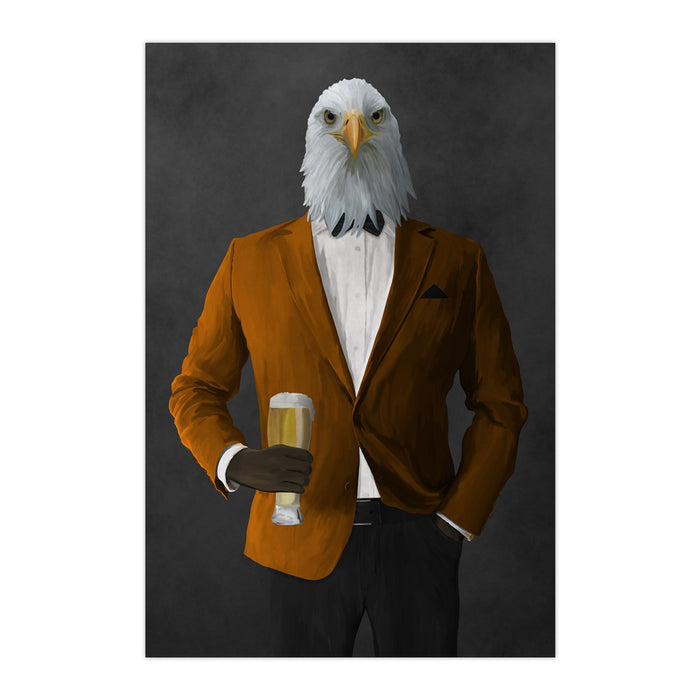 Bald eagle drinking beer wearing orange and black suit large wall art print