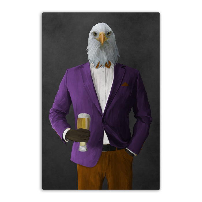 Bald eagle drinking beer wearing purple and orange suit canvas wall art