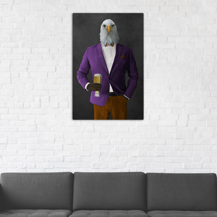Bald eagle drinking beer wearing purple and orange suit wall art in man cave
