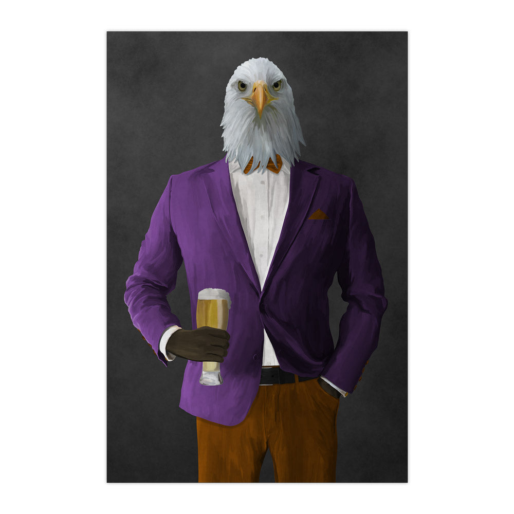 Bald eagle drinking beer wearing purple and orange suit large wall art print