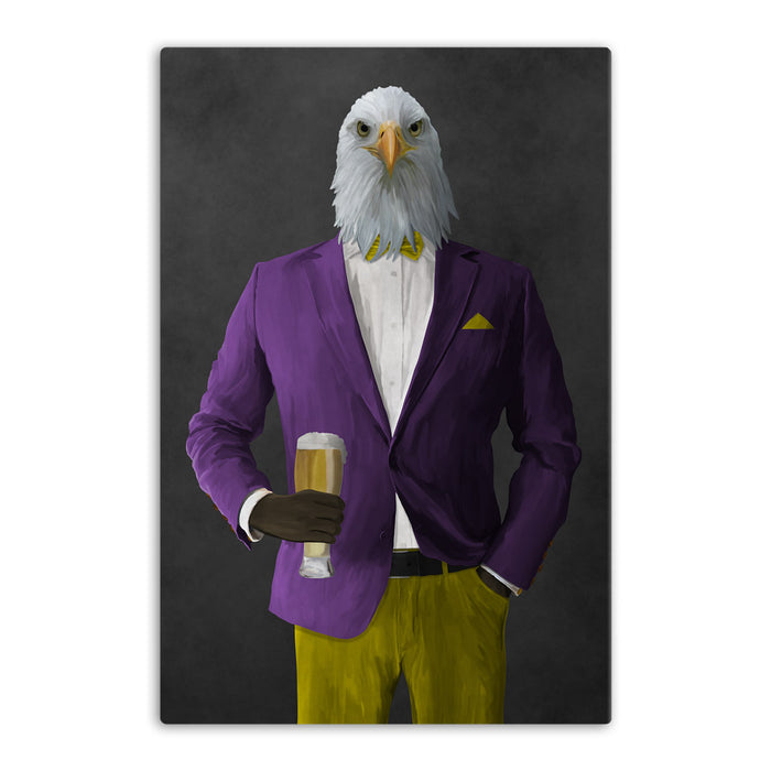 Bald eagle drinking beer wearing purple and yellow suit canvas wall art