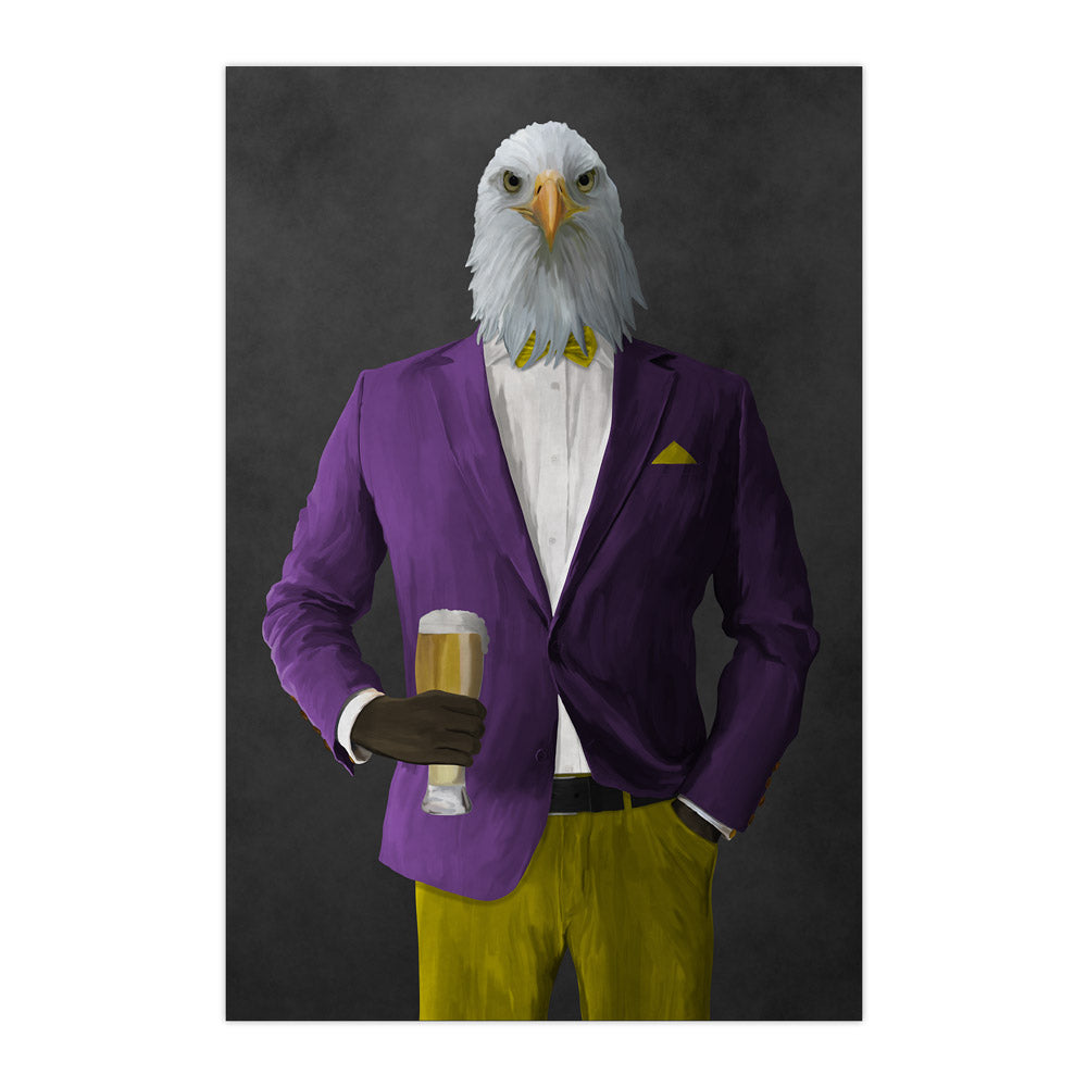 Bald eagle drinking beer wearing purple and yellow suit large wall art print