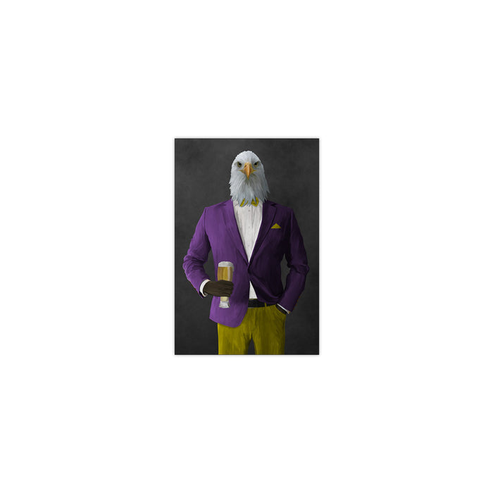 Bald eagle drinking beer wearing purple and yellow suit small wall art print