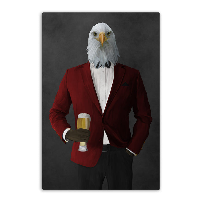 Bald eagle drinking beer wearing red and black suit canvas wall art