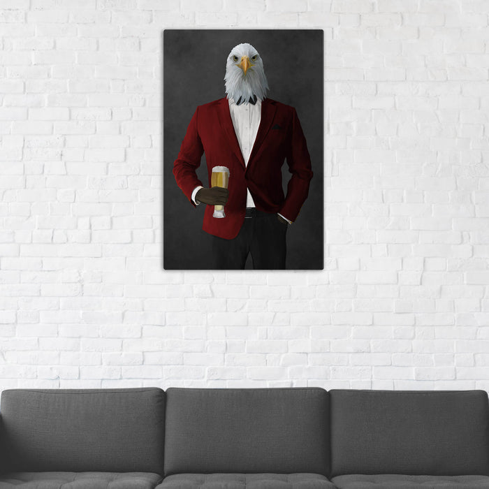 Bald eagle drinking beer wearing red and black suit wall art in man cave