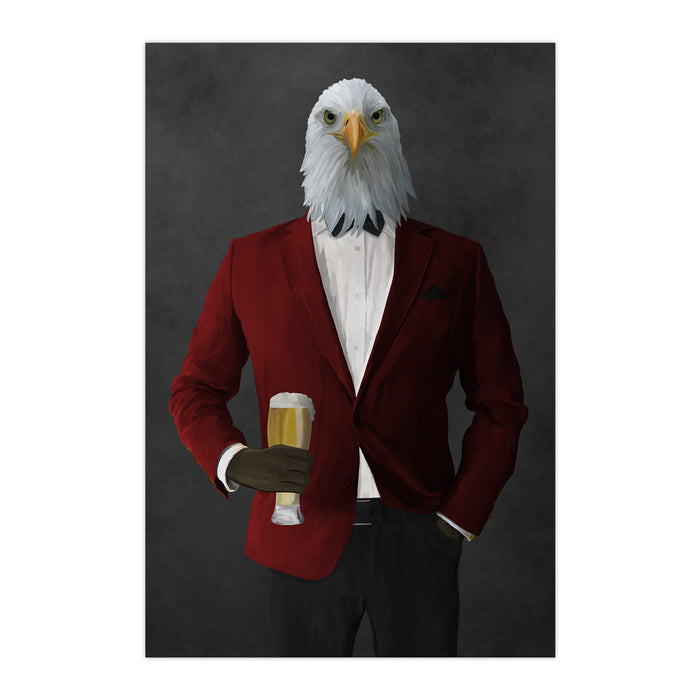 Bald eagle drinking beer wearing red and black suit large wall art print