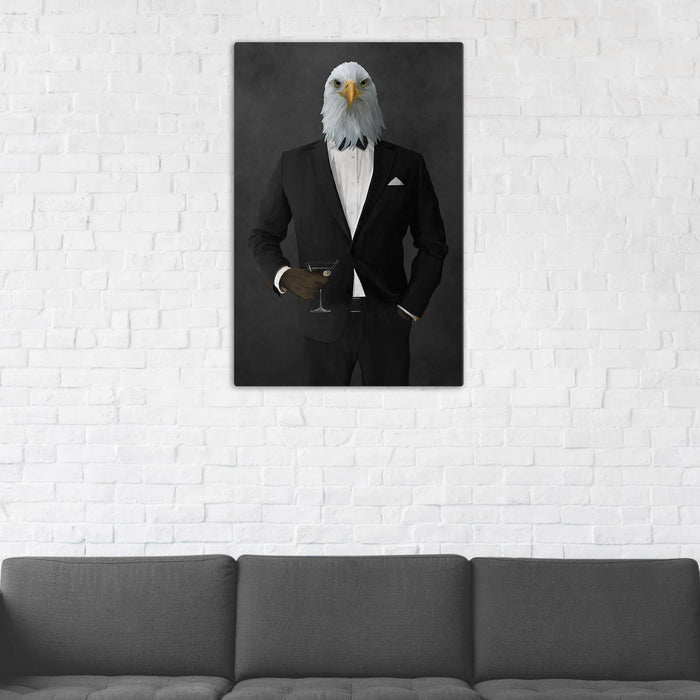 Bald eagle drinking martini wearing black suit wall art in man cave