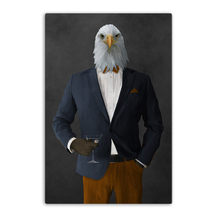 Bald eagle drinking martini wearing navy and orange suit canvas wall art