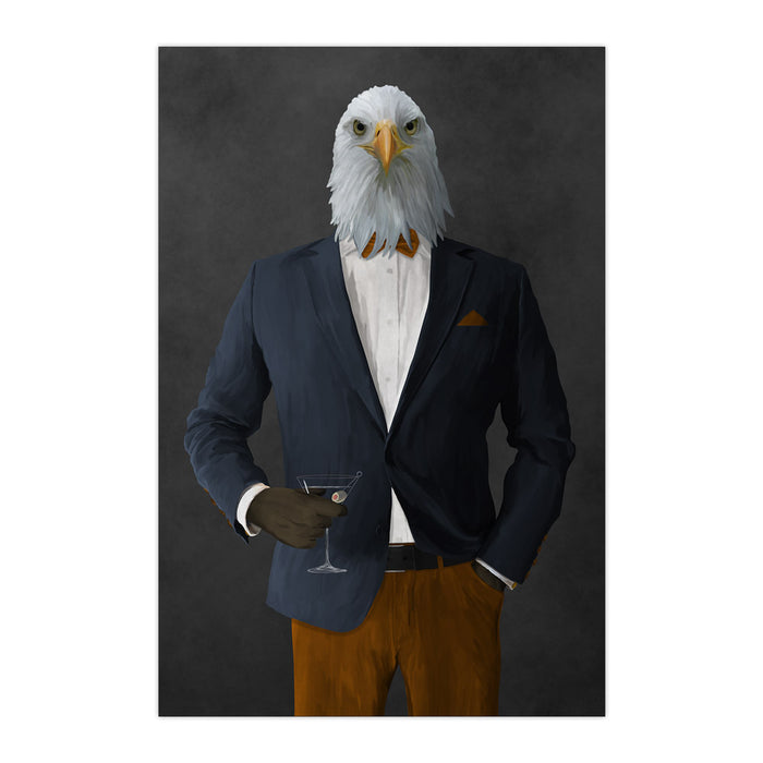Bald eagle drinking martini wearing navy and orange suit large wall art print