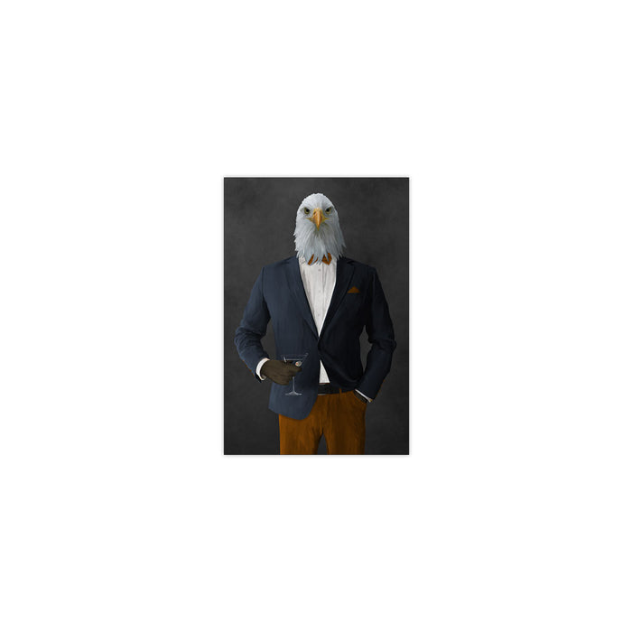 Bald eagle drinking martini wearing navy and orange suit small wall art print