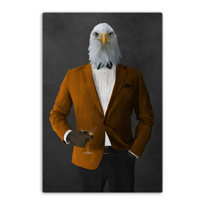 Bald eagle drinking martini wearing orange and black suit canvas wall art