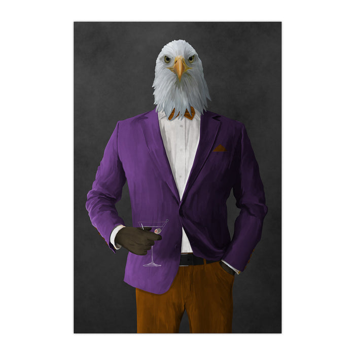 Bald eagle drinking martini wearing purple and orange suit large wall art print