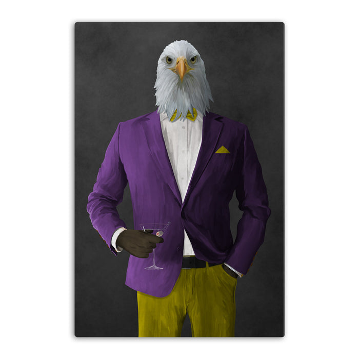 Bald eagle drinking martini wearing purple and yellow suit canvas wall art
