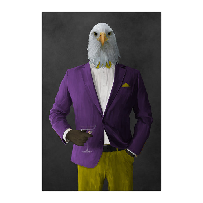 Bald eagle drinking martini wearing purple and yellow suit large wall art print