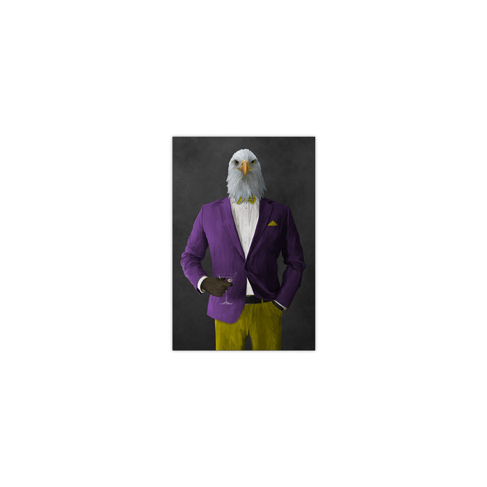 Bald eagle drinking martini wearing purple and yellow suit small wall art print