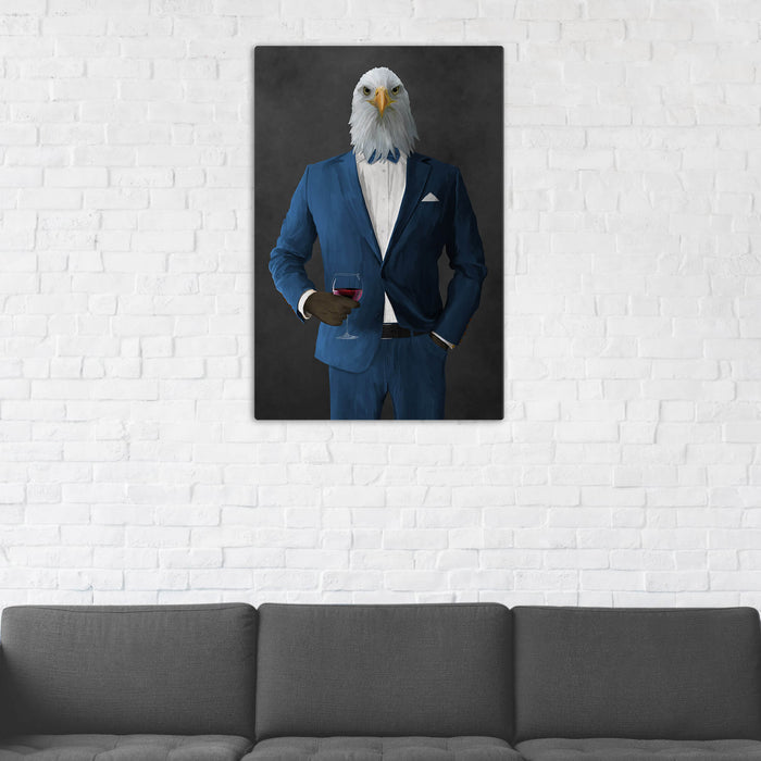 Bald eagle drinking red wine wearing blue suit wall art in man cave