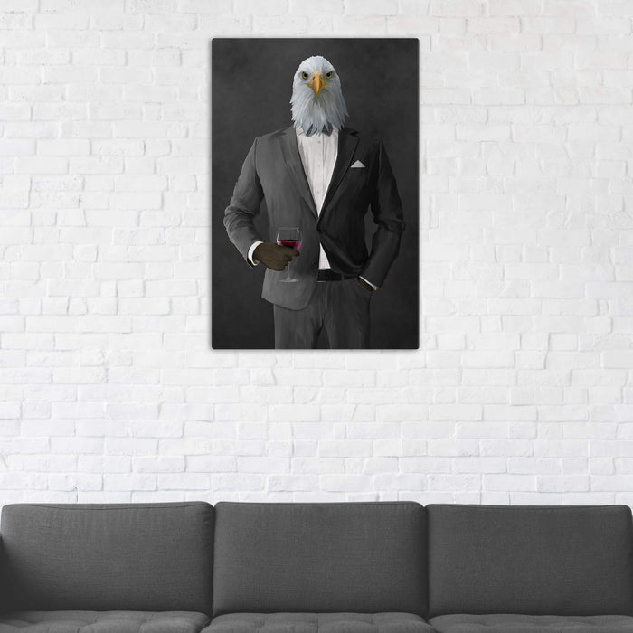 Bald eagle drinking red wine wearing gray suit wall art in man cave