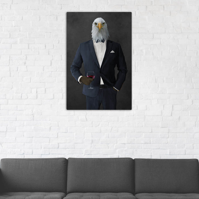 Bald eagle drinking red wine wearing navy suit wall art in man cave