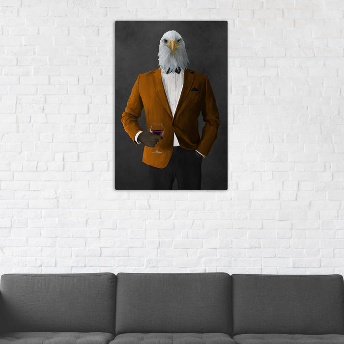 Bald eagle drinking red wine wearing orange and black suit wall art in man cave