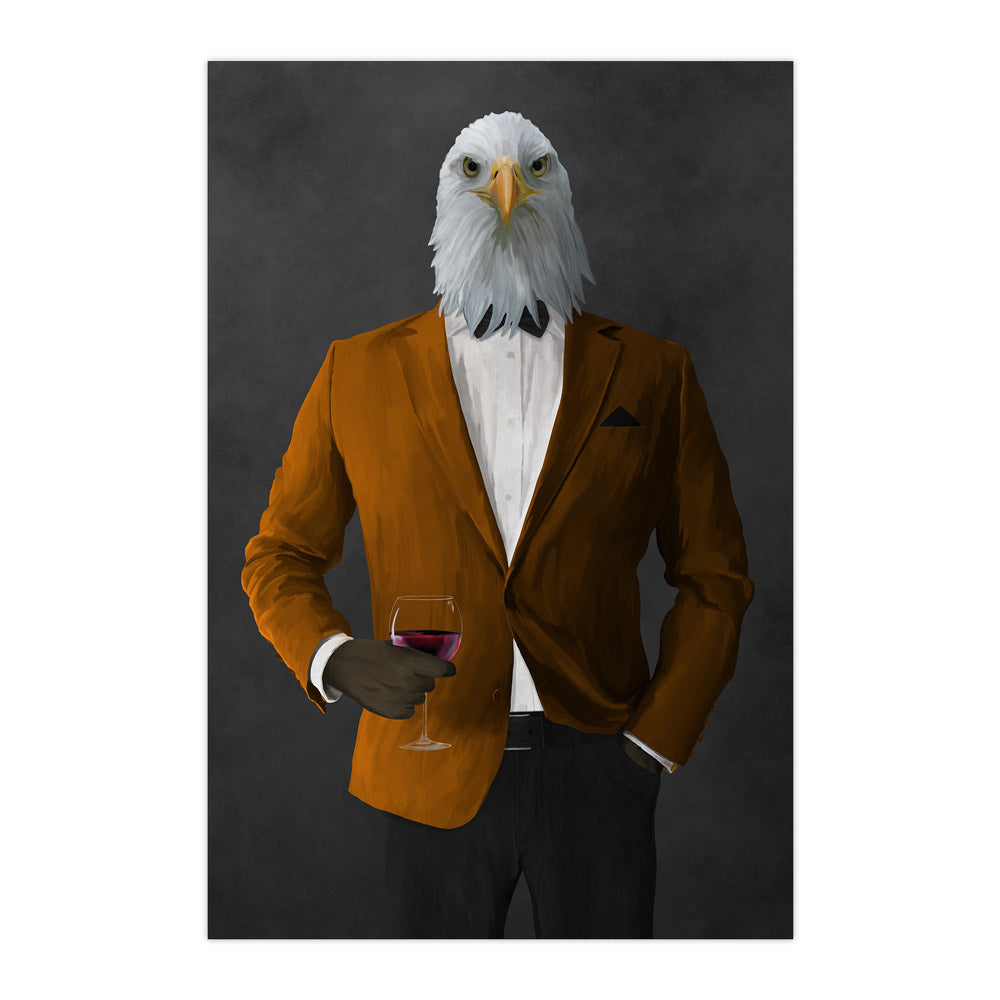 Bald eagle drinking red wine wearing orange and black suit large wall art print