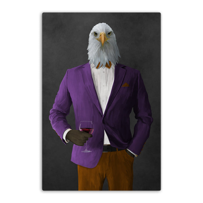 Bald eagle drinking red wine wearing purple and orange suit canvas wall art