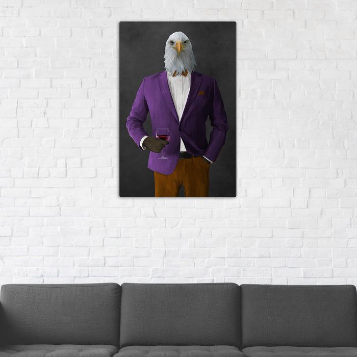 Bald eagle drinking red wine wearing purple and orange suit wall art in man cave