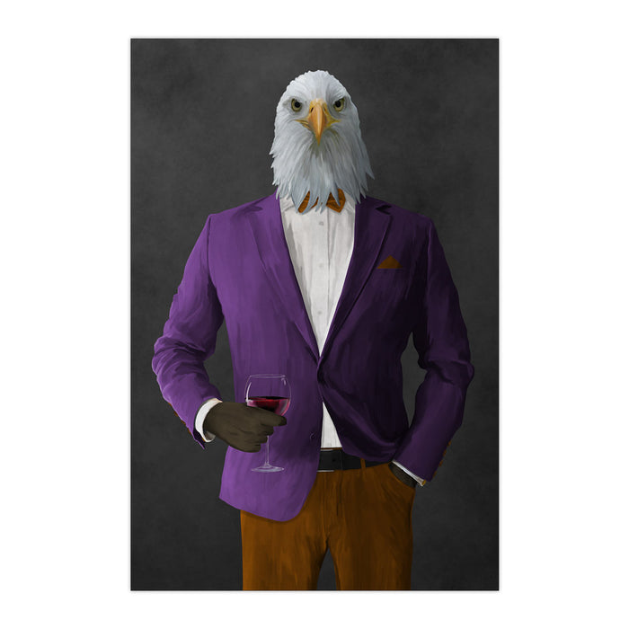 Bald eagle drinking red wine wearing purple and orange suit large wall art print