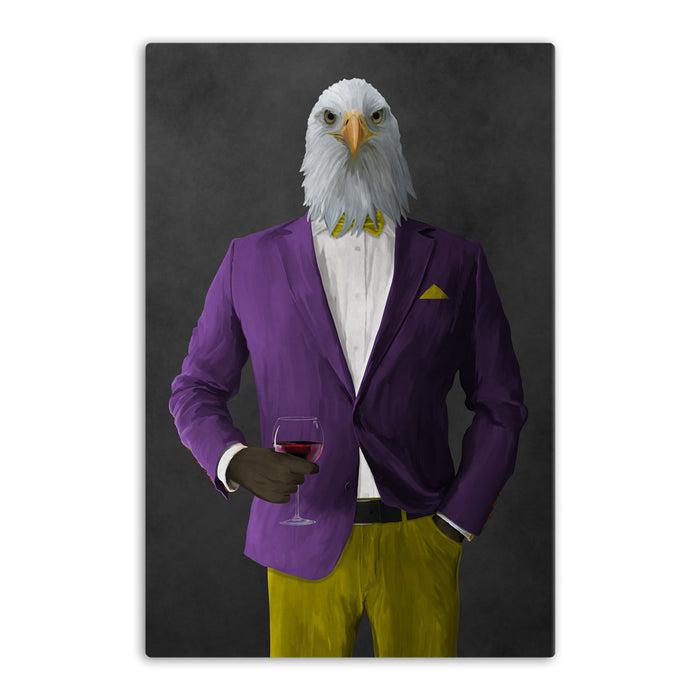 Bald eagle drinking red wine wearing purple and yellow suit canvas wall art