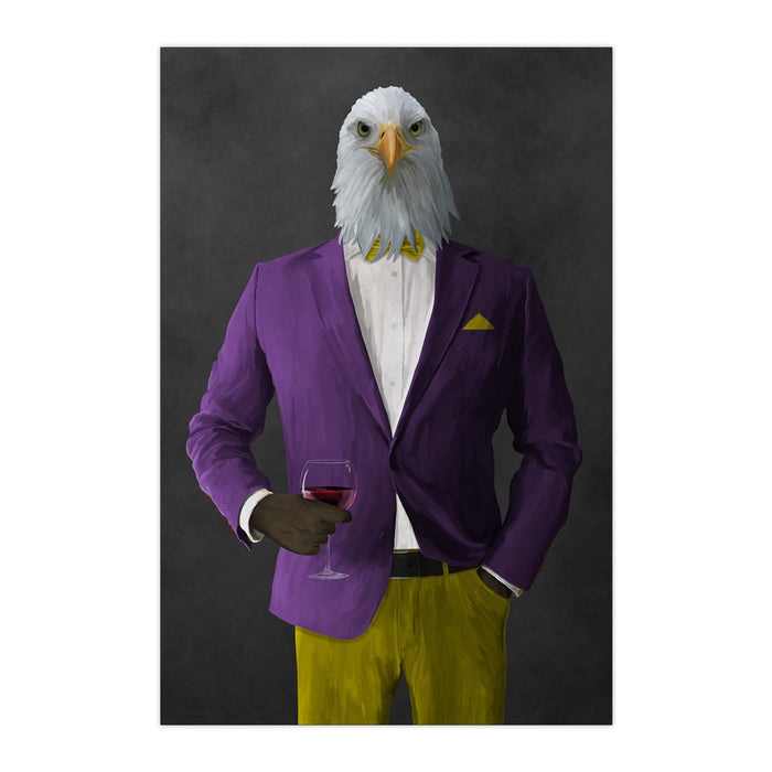 Bald eagle drinking red wine wearing purple and yellow suit large wall art print