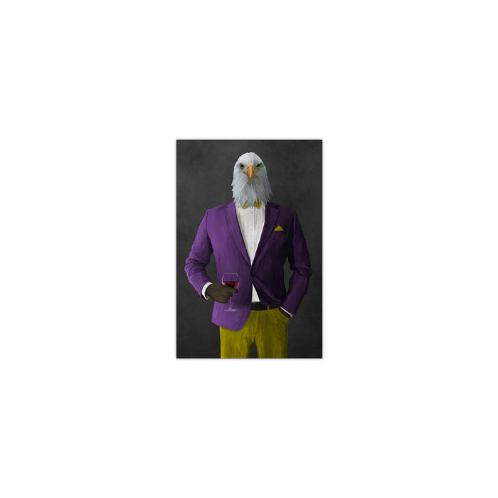 Bald eagle drinking red wine wearing purple and yellow suit small wall art print